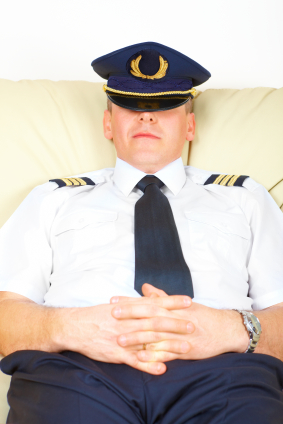 Airline pilot resting